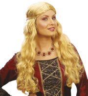 perruque pour femme, perruque blonde, perruque blonde cheveux longs, perruque médiévale Perruque Medieval Wench, Blonde