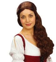 perruque châtain, perruque châtain femme, perruque cheveux longs chatain, perruque médiévale Perruque Medieval Wench, Châtain