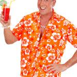 chemise hawaï homme, chemise hawaïenne homme, accessoire hawaï déguisement, soirée hawaï, accessoire déguisement soirée tropicale, colliers hawaïens, déguisement hawaïen homme Chemise Hawaïenne, Orange