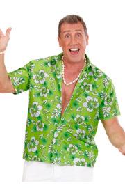 chemise hawaï homme, chemise hawaïenne homme, accessoire hawaï déguisement, soirée hawaï, accessoire déguisement soirée tropicale, colliers hawaïens, déguisement hawaïen homme Chemise Hawaïenne, Verte