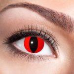 lentilles rouges de chat, lentilles halloween, lentilles fantaisie, lentilles déguisement, lentilles déguisement halloween, lentilles de couleur, lentilles fete, lentilles de contact déguisement, lentilles oeil de chat Lentilles Oeil de Chat, Rouges, Red Cat
