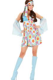 déguisement hippie femme, costume hippie femme, déguisement flower power femme, costume flower power femme, costume années 70 femme, déguisement années 70 femme, déguisement peace and love femme, costume femme hippie Déguisement Hippie Girl, avec Manchettes, 70s