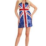 déguisement robe anglaise, déguisement drapeau anglais femme, déguisement union jack femme, déguisement anglais femme Déguisement Miss Drapeau Anglais Sequins
