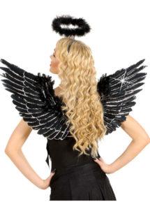 ailes de déguisement, ailes pour se déguiser, ailes d'anges noires, ailes d'ange noir, ailes en plumes, ailes noires, accessoire halloween, ailes de démon, Ailes d'Ange en Plumes, Noires et Argent