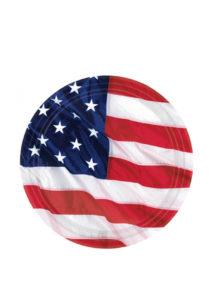 assiettes en carton, vaisselle jetable, vaisselle pour anniversaire, assiettes drapeau américain, Vaisselle Etats Unis, Assiettes Drapeau Américain