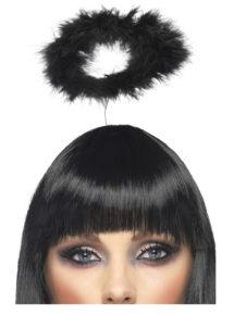auréole d'ange, auréoles d'anges noires, auréoles en plumes noires, déguisement d'ange, auréole d'ange plumes noires, accessoire déguisement d'ange, accessoire d'ange déguisement, Auréole d'Ange, Petites Plumes Noires