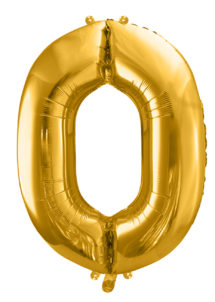 ballon chiffre, ballon alu chiffre, ballon zéro or, Ballon Chiffre 0, Doré, 86 cm