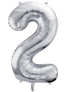ballon chiffre, ballon alu chiffre, ballon chiffre 2 argent, Ballon Chiffre 2, Argent, 86 cm
