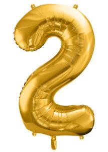 ballon chiffre, ballon alu chiffre, ballon chiffre 2 or, Ballon Chiffre 2, Doré, 86 cm