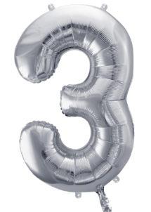 ballon chiffre, ballon alu chiffre, ballon chiffre 3 argent, Ballon Chiffre 3, Argent, 86 cm