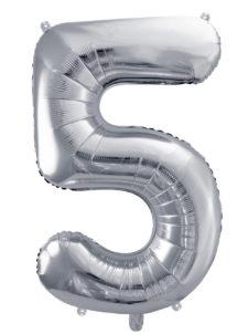 ballon chiffre, ballon alu chiffre, ballon chiffre 5 argent, Ballon Chiffre 5, Argent, 86 cm