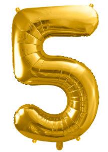 ballon chiffre, ballon alu chiffre, ballon chiffre 5 or, Ballon Chiffre 5, Doré, 86 cm
