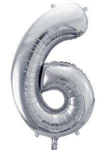 ballon chiffre, ballon alu chiffre, ballon chiffre 6 argent, Ballon Chiffre 6, Argent, 86 cm