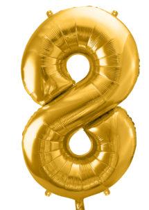 ballon chiffre, ballon alu chiffre, ballon chiffre 8 or, Ballon Chiffre 8, Doré, 86 cm