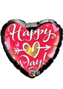 ballon coeur, ballon hélium, ballon saint Valentin, ballon mylar, ballon à l'hélium, ballons coeurs, ballon coeur rouge, Ballon Coeur Rouge Happy Love Day, en Aluminium