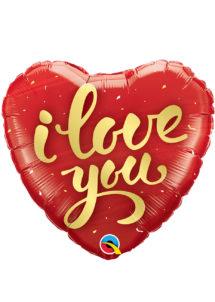 ballon coeur, ballon hélium, ballon saint Valentin, ballon mylar, ballon à l'hélium, ballons coeurs, ballon coeur rouge, ballon i love you, Ballon Coeur Rouge, I Love You, en Aluminium