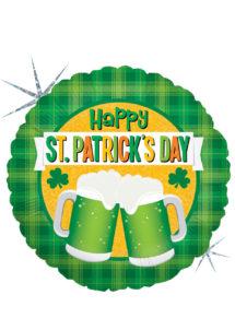 ballon aluminium, ballon hélium, ballon trèfle, ballon saint patrick, décorations saint patrick, Ballon Saint Patrick, Happy Beer, en Aluminium