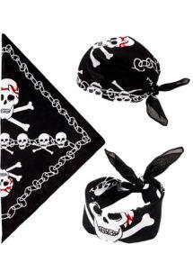 bandana tête de mort, accessoire halloween, bandana de pirates, accessoires pirates, drapeau tête de mort, bandana squelette, Bandana Têtes de Mort