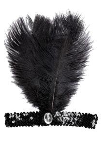 bandeau charleston noir, bandeau charleston, bandeau à plumes, accessoire déguisement, accessoire années 30, accessoire cabaret, bandeau charleston, bandeau années 30, bandeau années 20, déguisement charleston, accessoire déguisement charleston, Bandeau Charleston à Plumes, Noir avec Pierre