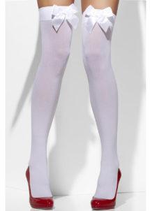 accessoire déguisement, collant déguisement, bas déguisement, bas blanc noeud satin, bas marquise, accessoire marquise, bas sexy, collants sexy, accessoires sexy, Bas Blancs, Noeud en Satin Blanc