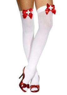 accessoire déguisement, collant déguisement, bas déguisement, bas blanc noeud satin, bas d'infirmière, accessoire infirmière, bas sexy, collants sexy, accessoires sexy, bas blancs noeuds rouges, Bas d'Infirmière, Noeud Satin Croix Rouge