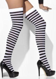 bas halloween, accessoires halloween, bas rayures noires, bas rayés bleus, bas rayures déguisement, bas déguisements, collants déguisements, accessoires de déguisement, bas rayures noires et blanches, bas rayures noeuds satin, bas déguisement, bas rayés, Bas Rayés, Noirs et Blancs