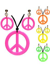 collier hippie déguisement, collier hippie et boucles d'oreilles hippies, collier peace and love, accessoires déguisement hippie, accessoires hippie, collier déguisement hippie, collier déguisement années 70, Collier Hippie et Boucles d'Oreilles, Couleurs