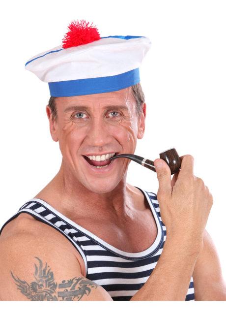 chapeau de matelot, bob marin, bob de la marine, béret de marin, béret de marine avec pompon, chapeau de matelot, accessoires déguisement marin, Bob Marin, Pompon Rouge
