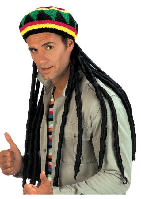 bonnet rasta avec dreads, accessoires déguisement rasta, perruque dreadlocks, perruque rasta, chapeau rasta, Bonnet Rasta avec Dreads