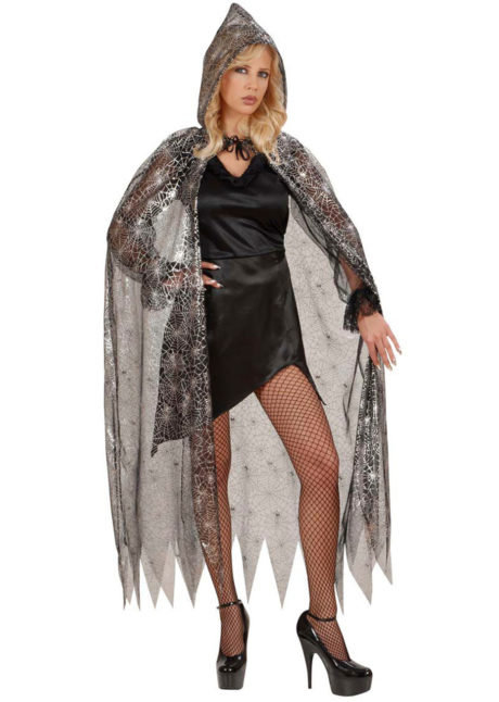 cape halloween femme, cape halloween avec araignées, cape halloween femme, cape halloween tulle femme, cape originale halloween femme, cape à capuche femme halloween, Cape Araignées Halloween, Voile Noir et Argent