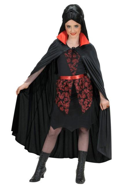 cape halloween, cape de diable, cape enfant, cape halloween enfant, Cape Noire, Col Rouge en Satin, Enfant