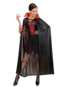cape noire col rouge, cape noire halloween, cape de diable, cape halloween, déguisement diable, Cape Noire, Col Rouge en Satin