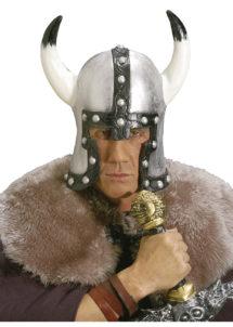 coiffe de viking, casque de viking, accessoire déguisement viking, casque à cornes, casque en latex, Casque de Viking Barbare, Argent