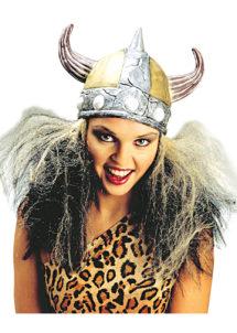 coiffe de viking, casque de viking, accessoire déguisement viking, casque à cornes, casque en latex, Casque de Viking avec Cheveux