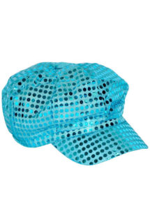 casquette disco sequins, casquette disco à paillettes, casquette disco bleue, Casquette Disco, Sequins Bleus