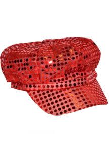 casquette disco sequins, casquette disco à paillettes, casquette disco rouge, Casquette Disco, Sequins Rouges