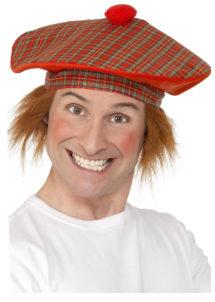 béret écossais, chapeaux humour, béret écossais avec cheveux, accessoires kilt écossais, Béret Ecossais, avec Cheveux Roux