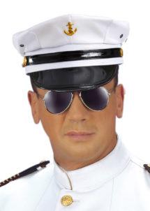 casquette de capitaine, accessoire déguisement de capitaine marin, casquette capitaine de la marine, casquettes de marins, casquettes de marine, Casquette de Capitaine avec Ancre Dorée