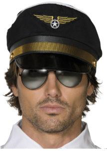 casquette de pilote, casquettes pilotes, accessoires déguisement de pilote, Casquette de Pilote, Noir