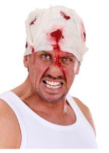 bandeau ensanglanté, accessoires halloween, accessoire déguisement halloween, faux sang, bandage faux sang, Bandage de Tête Ensanglanté