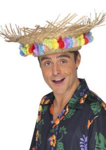 chapeaux hawaïens, chapeau hawaï, soirée hawaï, accessoires colliers de fleurs, chapeau de paille, accessoire hawaï, Chapeau Hawaï, Paille et Fleurs en Tissu