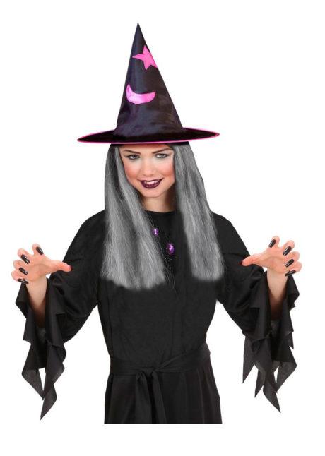 chapeau de sorciere enfant, chapeau de sorcière avec cheveux, chapeaux de sorcières pour enfant, Chapeau de Sorcière avec Cheveux