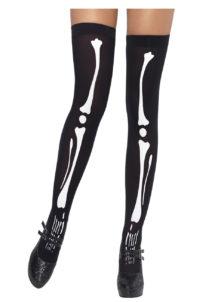 Bas squelettes, bas noirs halloween, bas déguisement, collants déguisement, accessoire déguisement, accessoire halloween, accessoire ange et démon, collants noirs squelette blanc, bas noirs squelettes, Bas Squelettes, Noirs