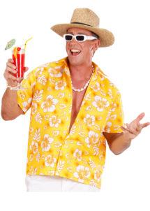 chemise hawaï homme, chemise hawaïenne homme, accessoire hawaï déguisement, soirée hawaï, accessoire déguisement soirée tropicale, colliers hawaïens, déguisement hawaïen homme, Chemise Hawaïenne, Jaune