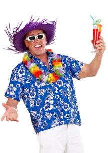 chemise hawaï homme, chemise hawaïenne homme, accessoire hawaï déguisement, soirée hawaï, accessoire déguisement soirée tropicale, colliers hawaïens, déguisement hawaïen homme, Chemise Hawaïenne, Bleue