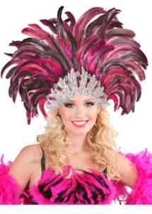 coiffe brésilienne, accessoire carnaval de rio, coiffe de carnaval, coiffure brésilienne, accessoire déguisement, déguisement brésilienne, coiffe brésilienne à plumes, Coiffe Brésilienne, Fuchsia