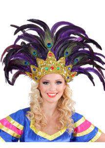 coiffe brésilienne, accessoire carnaval de rio, coiffe de carnaval, coiffure brésilienne, accessoire déguisement, déguisement brésilienne, coiffe brésilienne à plumes, Coiffe Brésilienne, Violette