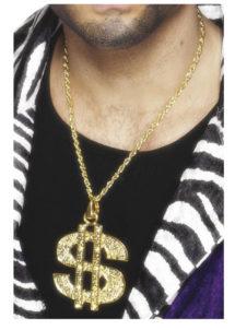 collier dollar, collier dollar déguisement, collier dollar bling bling, pendentif collier dollar, collier déguisements, bijoux de déguisements, accessoire bling bling, accessoire américain, collier dollar doré, Collier Dollar Doré, sur Chaîne
