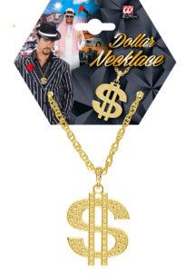 collier dollar, collier dollar déguisement, collier dollar bling bling, pendentif collier dollar, collier déguisements, bijoux de déguisements, accessoire bling bling, accessoire américain, collier dollar doré, Collier Dollar Doré, Chaîne Gros Maillons