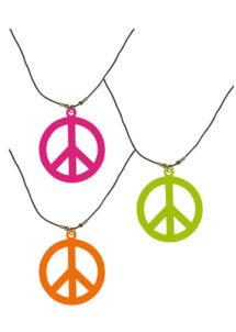 collier hippie déguisement, collier hippie et boucles d'oreilles hippies, collier peace and love, accessoires déguisement hippie, accessoires hippie, collier déguisement hippie, collier déguisement années 70, Collier Hippie, Couleurs Fluos